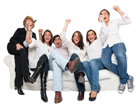 Isolated group of family members sitting at home cheering Stock Photo - 10441912