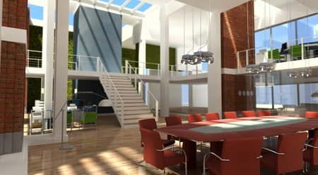 interior design office:   3D rendering of a very modern office in a loft   Stock Photo