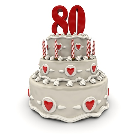 3D rendering of a multi-tiered cake with a number eighty on top  photo