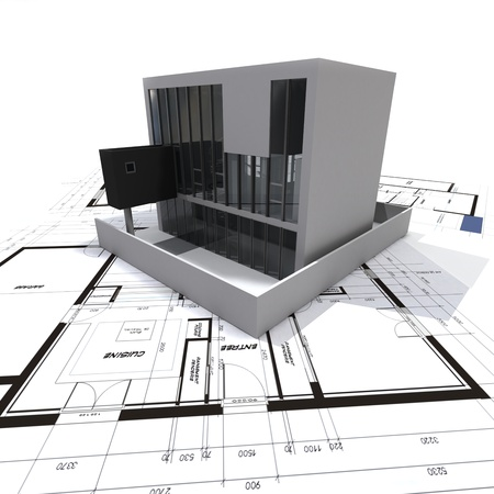 construction plan:   3D rendering of a modern design building on top of blueprints