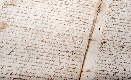 script writing:   Shot on an old manuscript written in French   Stock Photo