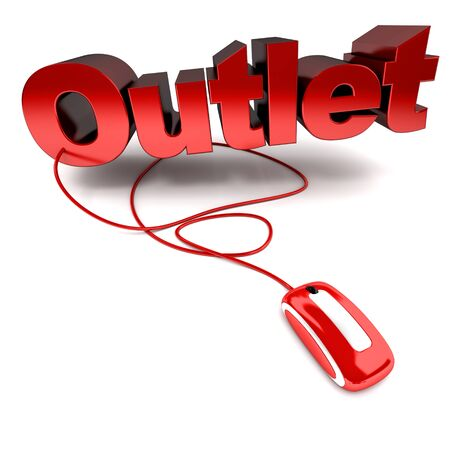 outlet:  3D rendering of the word outlet connected to a computer mouse  Stock Photo
