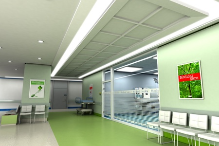 hospital stretcher:  3D rendering of an upscale modern clinic