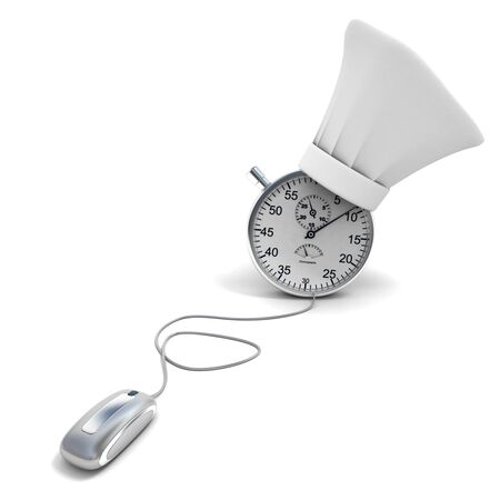 caterer:  3D rendering of a clock wearing a toque, connected to a computer mouse