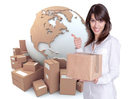 international shipping:    Happy young woman holding a box with a transportation related background  Stock Photo