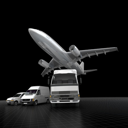 air freight:  3D rendering of an airplane, a truck, a van and a lorry against a black background  Stock Photo