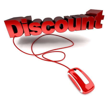 3d mouse:  3D rendering of the word discount connected to a computer mouse