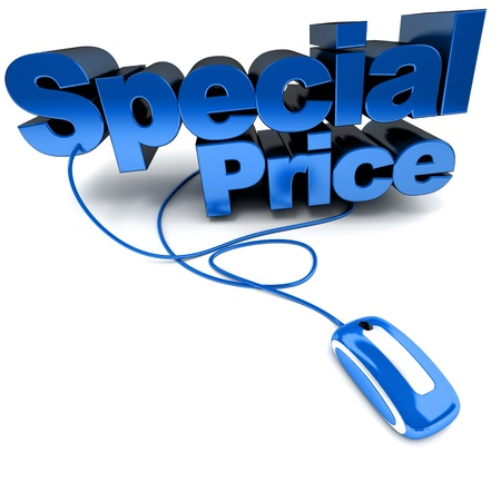 promotional:  3D rendering of the words Special Price connected to a computer mouse