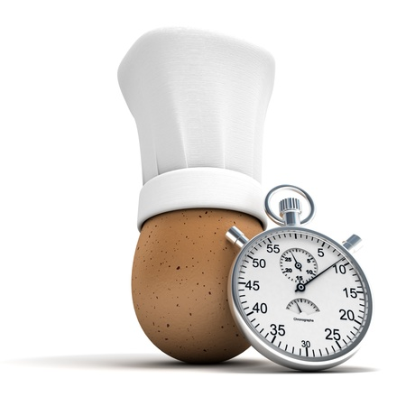 save time:  3D rendering of an egg wearing a chef's toque with a stopwatch