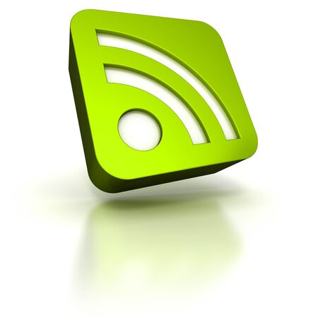 syndication:   3D rendering of an green icon with the RSS symbol  Stock Photo