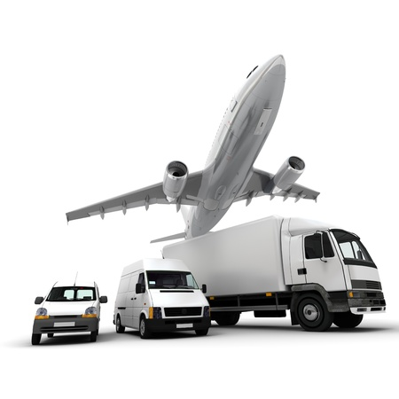 3D rendering of an airplane, a truck, a van and a lorry against a neutral background  photo