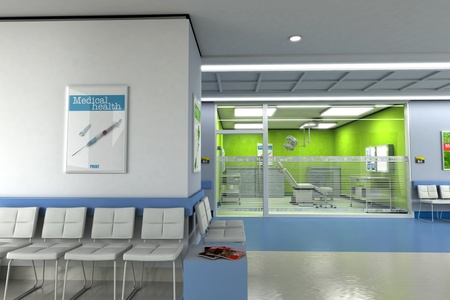 hospital interior:  3D rendering of a clinics waiting room with an operating room in the background  Stock Photo