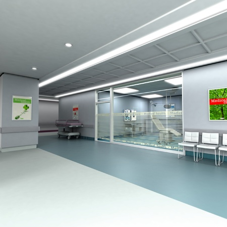 surgery stretcher:  3D rendering of an upscale modern clinic