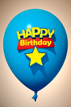 3D rendering of a blue balloon with the words happy birthday and a star to insert a number photo