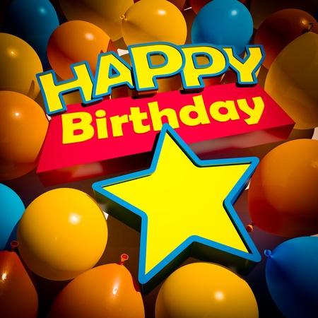 felicitaciones cumpleaÑos: Representación 3D de un grupo de globos y el cumpleaños feliz y las palabras de una estrella para insertar un número