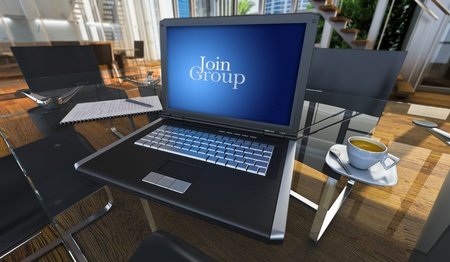 boardroom meeting: 3D rendering of a laptop in a modern office with the words join group written on the screen