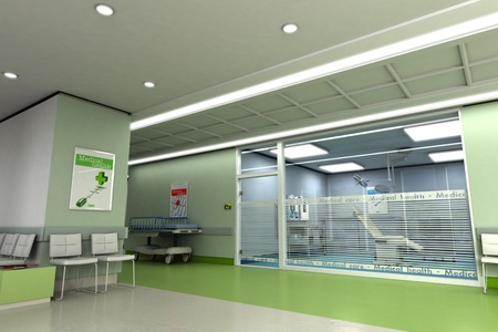 waiting room:  3D rendering of an upscale modern clinic