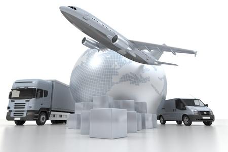 corriere: 3D rendering di una mappa del mondo, i beni, un camion e un aereo Archivio Fotografico