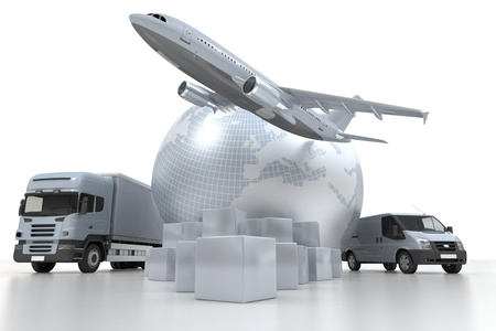 courier delivery: 3D rendering of  a world map, goods, a truck and an airplane