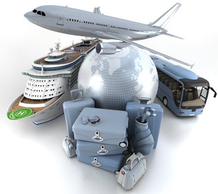 high key: 3D rendering di un globo terrestre, un aereo, una nave da crociera e un pullman con una pila alta chiave dei bagagli