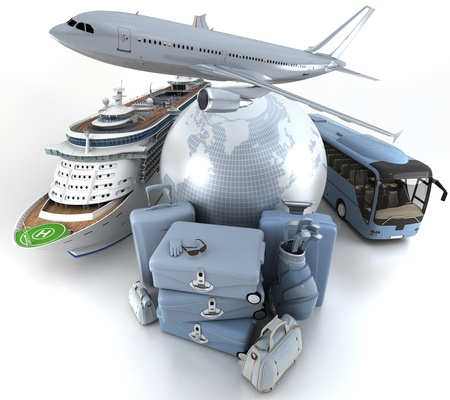 first plane: 3D rendering of a world globe, an airplane, a cruise ship and a coach bus with a high key pile of luggage Stock Photo