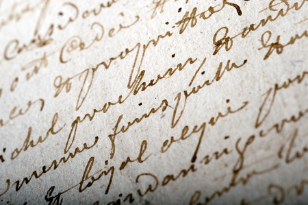 Close-up shot on an old manuscript written in French Stock Photo - 11130537