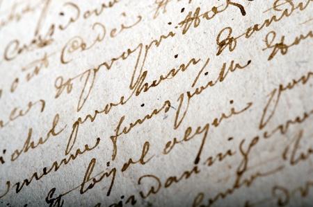 dopisní papír: Detailní záběr na staré rukopisu psané ve francouzštině