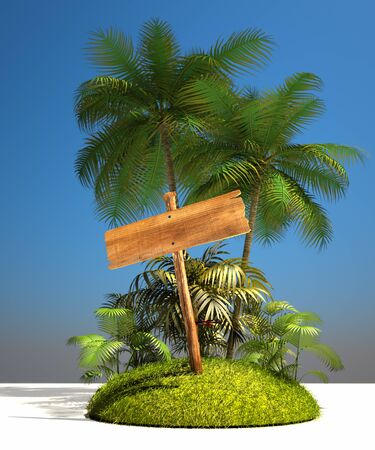 Tropical island composition with a wooden sign post photo