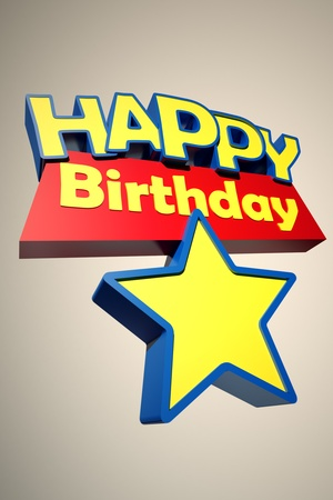 3D rendering with the words happy birthday and a star to insert a number photo
