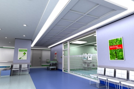 emergency stretcher:   3D rendering of an upscale modern clinic