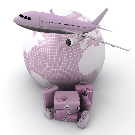 A flying plane, the Earth and a pile of luxurious luggage rendered in pink shades photo