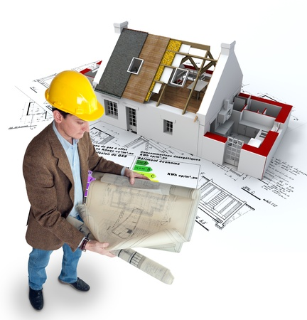 residential construction:  Architect , blueprints a house under construction and an energy efficiency chart
