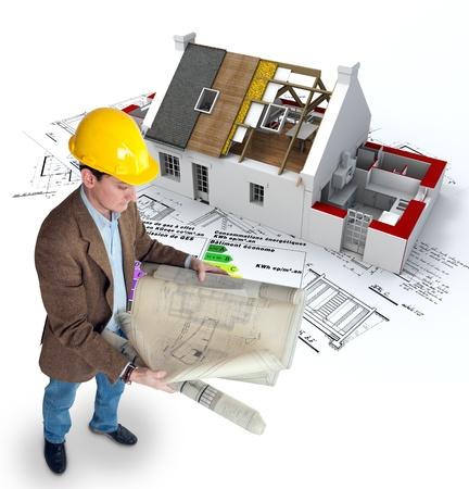 eficiencia: Arquitecto, planos de una casa en construcción y un gráfico de eficiencia energética