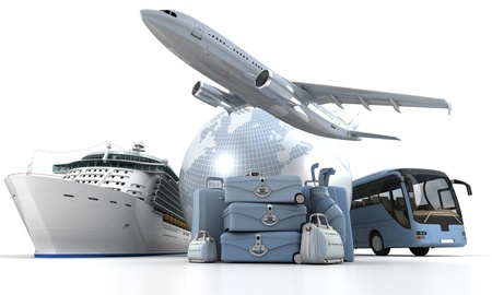 transportation travel: 3D rendering of a world globe, an airplane, a cruise ship and a coach bus with a high key pile of luggage Stock Photo