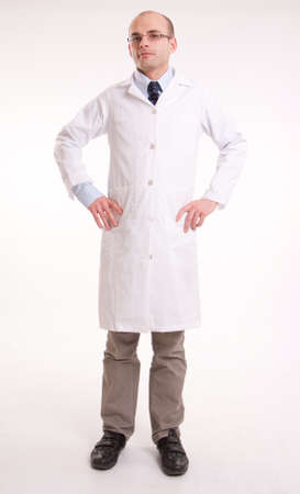 Man in lab coat with a neutral background Stock Photo - 11406671