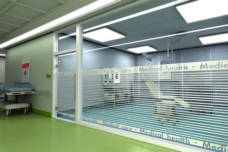 hospital interior:  3D rendering of a minor surgery room from behind a glass wall