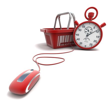 fast computer: 3D rendering of a shopping basket connected to a computer mouse with a timer Stock Photo