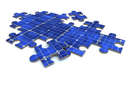 3D rendering of a forming puzzle with a solar panel texture Stock Photo - 11406681