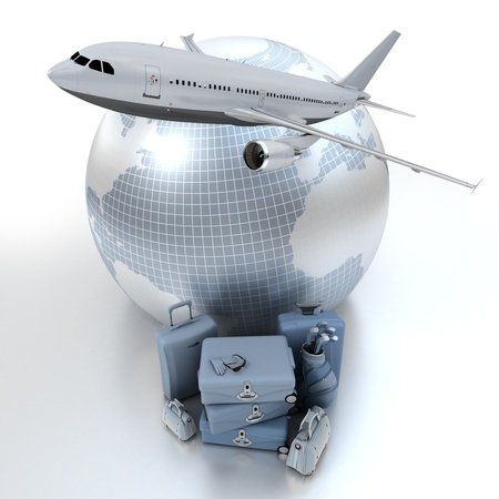 A flying plane, the Earth and a pile of luxurious luggage rendered in blue shades Stock Photo - 11727562