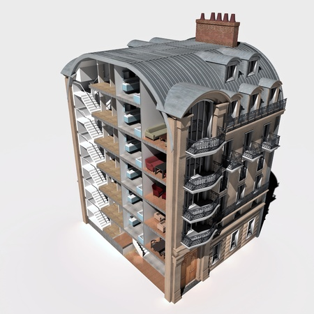 sectioned:  3D rendering of an old Parisian building sectioned showing rooms and interiors