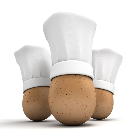 chef 3d:  3D rendering of three eggs wearing chef toques