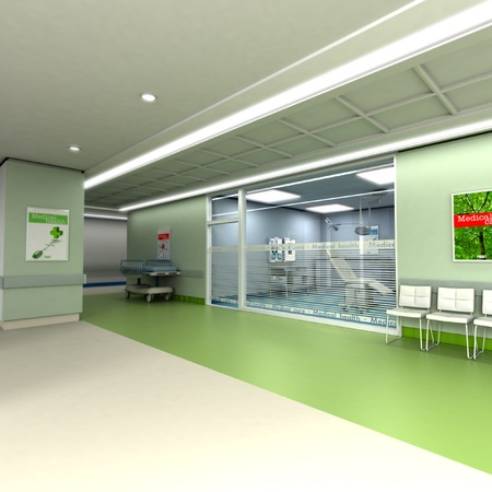 hospital room:  3D rendering of an upscale modern clinic