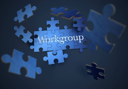 3D rendering of a forming puzzle with the word teamwork  photo
