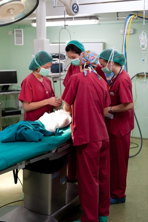 Anesthetic team preparing young patient at the operating theater before surgery Stock Photo - 12125265