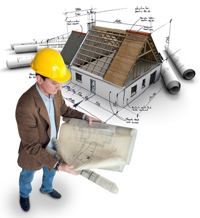 corrections:  Architect looking at House mock-up on top of blueprints with pen notes and corrections  Stock Photo