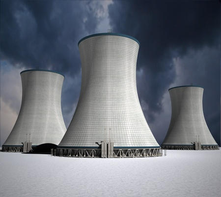 power station:  3D rendering of a nuclear power station