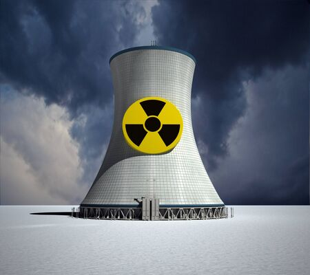nuclear power station:  3D rendering of a nuclear power station