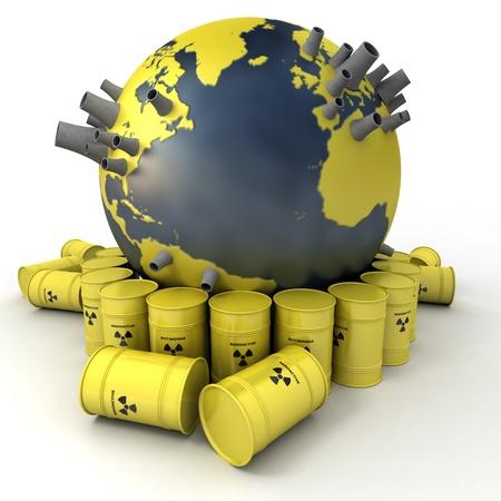 residuos toxicos: Representaci�n 3D de la Tierra con las centrales nucleares rodeado de barriles de residuos nucleares Foto de archivo