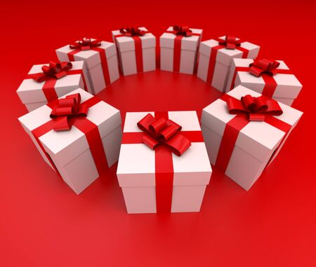 lateral view: Lateral view of a circle of white gift boxes with red ribbons and background, 3D rendering