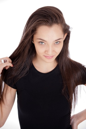 girl with rings:   Beautiful blue-eyed brunette with a shy expression